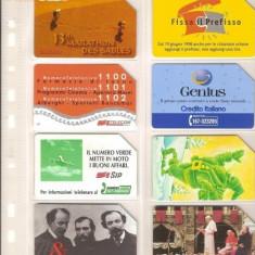 Lot 8 cartele telefonice Italia, maratonul desertului, Swissair, Papa Ioan Paul al II-lea, etc. - lot colectie