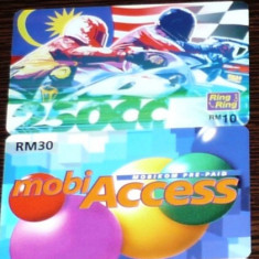 MALAYSIA. 2 CARTELE TELEFON MOBIKOM SI TELEKOM - Cartela telefonica straina
