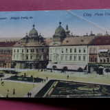carte postala - CLUJ - Piata Unirii -- KOLOZSVAR- Matyas kiraly ter !!!