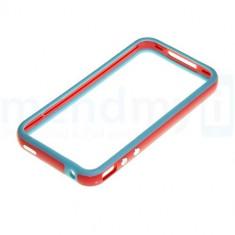 bumper rosu-bleu iphone 4 4s + folie protectie ecran poze reale butoane volum metalice