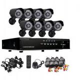 MEGA SET 8 CAMERE CCTV+DVR RECORDING INTERNET+3G, CABLURI INCLUSE, TELECOMANDA, MOUSE, ALIMENTARE. - Camera CCTV, Exterior, Cu fir, Digital, Color