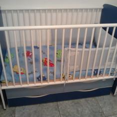 PAT COPII cu 2 sertare si leganare silance - Patut lemn pentru bebelusi Baby Dreams, 120x60cm, Alb