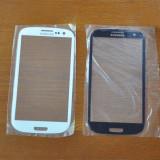 Vand Geam Sticla de la TouchScreen / Touch Screen Display Fata de la Carcasa Samsung i9300 Galaxy S 3 III S3 NOU Alb White ORIGINAL