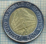 2105 MONEDA  - ITALIA  -  500 LIRE - anul 1996- INSTITUTUL NATIONAL DE STATISTICA -1926-1996 -starea care se vede