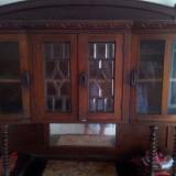 Dulap lemn masiv sculptat cu blat marmura si geam de cristal, Altul, 1900 - 1949