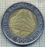 2104 MONEDA  - ITALIA  -  500 LIRE - anul 1996- iNSTITUTUL NATIONAL DE STATISTICA -1926-1996 -starea care se vede