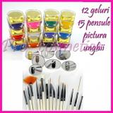 Gel color gel uv gel unghii false kit gel uv 12 geluri colorate + 15 pensule