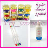 Gel uv unghii false 12 geluri colorate + Cleanser Degresant + 3 pensule pictura