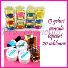 Kit unghii false kit gel uv 12 geluri colorate 3 gel constructie unghii