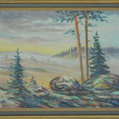 Tablou / pictura ULEI pe CARTON '48 - Pictor roman