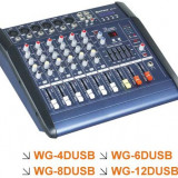 MIXER AUDIO AMPLIFICAT/PUTERE, 6 CANALE, EFECTE DIGITALE VOCE, MP3 PLAYER INCLUS, 300 WATT. - Mixere DJ