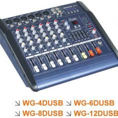 MIXER AUDIO AMPLIFICAT/PUTERE ,6 CANALE,EFECTE DIGITALE VOCE,MP3 PLAYER INCLUS,300 WATT.