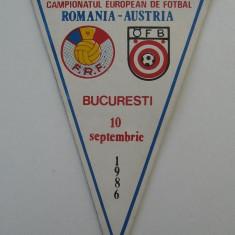 fanion de colectie CAMPIONATUL EUROPEAN DE FOTBAL ROMANIA-AUSTRIA,Bucuresti,10.SEPT.1986