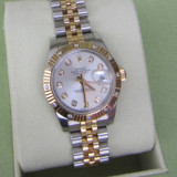 LADIES ROLEX OYSTER PERPETUAL DATEJUST TWO-TONE 18K GOLD DIAMOND