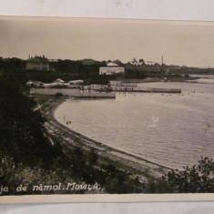 """Ilustrata Movila / Techirghiol / Carmen Sylva / Eforie Sud """"Plaja de Namol"""" 1936"""