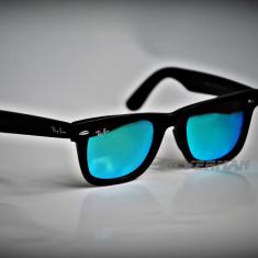 Ochelari de soare Ray Ban Wayfarer RB2140 901/19 Lentila bleu-verde oglinda, Unisex