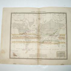 Harta Gravura color Curenti aerieni 1853