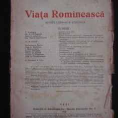 REVISTA VIATA ROMANEASCA - REVISTA LITERARA SI STIINTIFICA - IULIE, AUGUST NO 7 SI 8 - 1926 ANUL XVIII