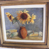 Tablou vechi semnat Nita Anghelescu 65x65 cm - Pictor roman, Flori, Ulei, Realism