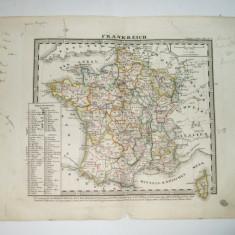 Harta Gravura color Franta 1853