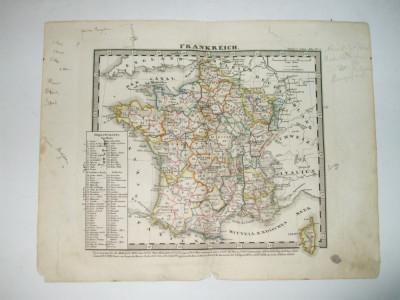 Harta Gravura color Franta 1853 foto