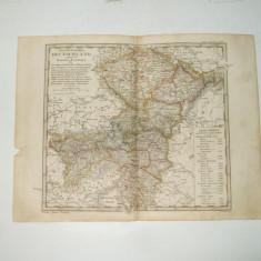 Harta Gravura color Germania de Sud-Est 1853