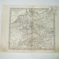 Harta Gravura color Germania, Olanda, Belgia si Elvetia 1853