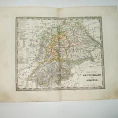Harta Gravura color Germania de Sud-Vest si Elvetia 1853