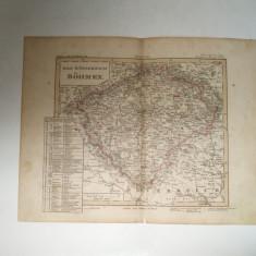 Harta Gravura color Boemia- Cehia 1853