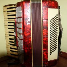 Acordeon Parrot Vintage, 96 basi, culoare rosie