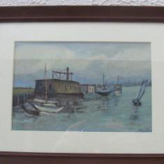 Tablou, pictat ulei pe panza, MARINA 12 - Pictor roman, Marine, Realism