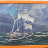 Tablou, pictat ulei pe panza, MARINA 11 - Pictor roman, Marine, Realism