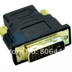 Adaptor DVI la HDMI 24+1 pin (DVI Tata la HDMI Mama) - Adaptor interfata PC