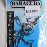 """Set 10 agrafe Baracuda """"double lock"""" cu vartej nr 1"""