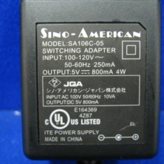 ALIMENTATOR 5V 0.8A 4W SINO-AMERICAN SA106C-05 Power Supply Charger Adapter - GARANTIE