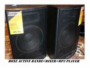 SISTEM PROFESIONAL 2 BOXE ACTIVE/AMPLIFICATE 10 INCH+MIXER INCLUS+MP3 PLAYER STICK/CARD+2 MICROFOANE BONUS!