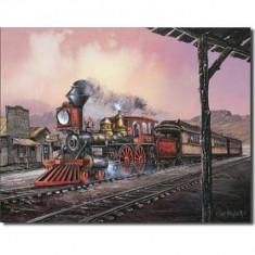 Reclama metalica vintage - Locomotiva cu abur