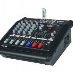 MIXER AUDIO PROFESIONAL AMPLIFICAT, EGALIZATOR, LCD, EFECTE DSP, MP3 PLAYER INCLUS.