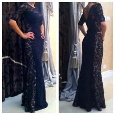 Vand rochie de ocazie model deosebit - Rochie ocazie, Culoare: Negru, Maxi, 3/4, Dantela