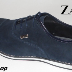 Pantofi ZARA 100% Piele Intoarsa Model NOU de Sezon - Negru / Bleumarin !!! - Pantofi barbati Zara, Marime: 40, 42