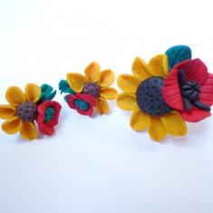 Set format din Cercei si Inel Handmade Fimo Floarea Soarelui - Cercei fimo