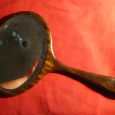 Oglinda veche cristal cu rama din baga ,17x12cm oglinda si 16 cm manerul