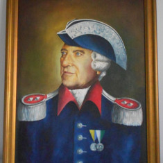 Tablou portret pictat pe panza rama lemn piesa colectii militare, Portrete, Ulei, Realism