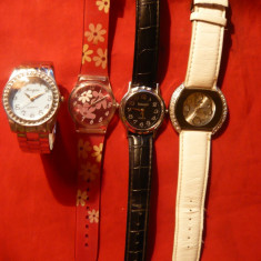 4 Ceasuri de dama, de mana, cu baterie - Ceas dama, Quartz, Plastic, Piele, Analog