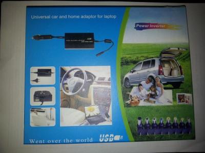 INCARCATOR UNIVERSAL pentru laptop 200 W , tableta , CASA [220v] si AUTO[12v]  (carcasa metal) cu 8 conectori intalniti la majoritatea modelelor foto