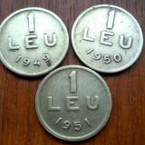 LOT MONEDE DE 1 LEU 1949, 50, 51 - Moneda Romania