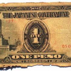 97. FILIPINE WWII OCUPATIE JAPONEZA 1 ONE PESO 1942 SR. 387 ŞTAMPILA
