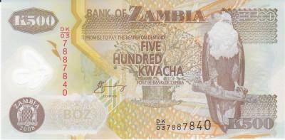 Bancnota Zambia 500 Kwacha 2008 - P43g UNC ( polimer ) foto