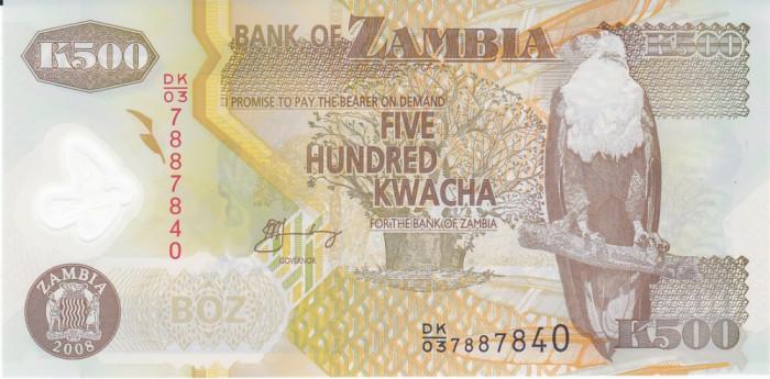 Bancnota Zambia 500 Kwacha 2008 - P43g UNC ( polimer )