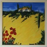 Pictura ulei toscana 76/76 cm ; pictura ulei lalele 75/45 cmp - Pictor roman, Peisaje, Altul
